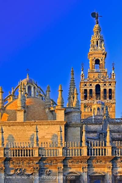 Stock photo of Seville Cathedral and La Giralda City of Sevilla Province of Sevilla Andalusia Spain Europe
