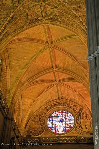 Stock photo of Window ceiling Door Prince Seville Cathedral Santa Cruz District City of Sevilla