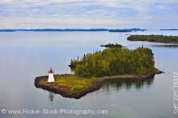 Stock photo of Shaganash Island Lighthouse Shaganash Island Lake Superior Near Thunder Bay Ontario Canada