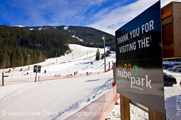 Stock photo of Sign at Coca Cola Tube Park Blackcomb Mountain Whistler British Columbia Canada