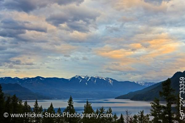 Stock photo of Clouds Slocan Lake sunset Valhalla Provincial Park BC