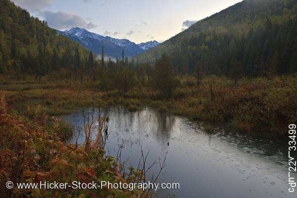 Stock photo of Snow capped Selkirk Mountains forest fall colors British Columbia