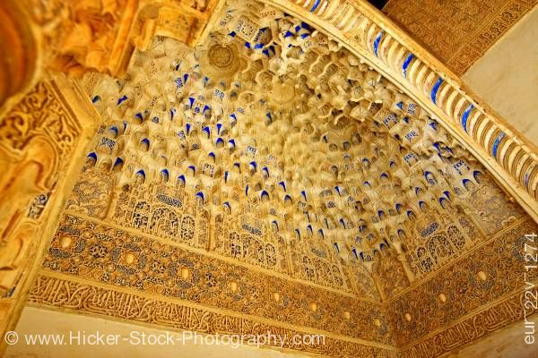 Stock photo of Small alcove ceiling Court of the Myrtles Court of the Pool The Royal House (La Alhambra) Granada
