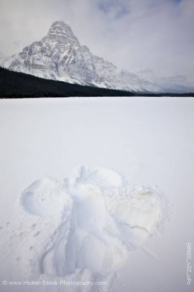 Stock photo of Snow Angel Waterfowl Lake Mount Chephren Banff National Park Alberta Canada
