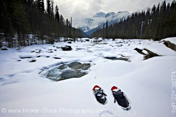 Stock photo of Snowshoes Mistaya River Bank Mount Sarbach Mistaya Canyon Banff National Park Alberta Canada