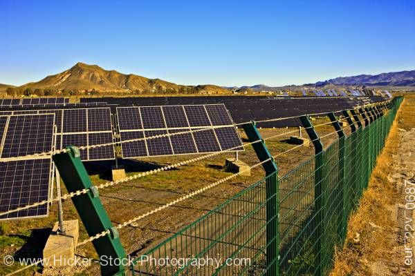 Stock photo of Heliostats solar panels Costa de Almeria Province of Almeria Andalusia Spain