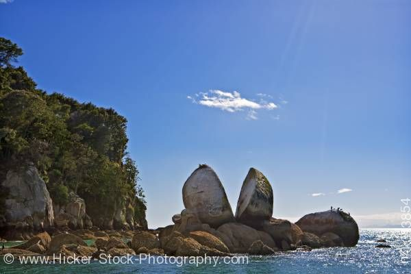 Stock photo of Scenic Split Apple Rock Marahau Abel Tasman National Park Tasman District South Island New Zealand