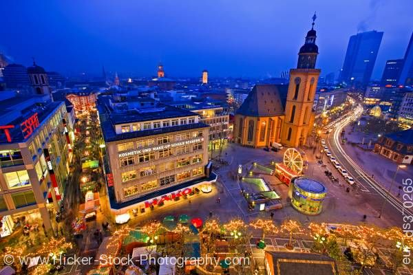 Stock photo of St. Katherine's Church Katharinenkirche, downtown Frankfurt at dusk Hessen Germany Europe