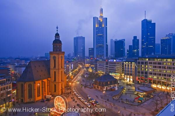 Stock photo of St. Katherine's Church at night Katharinenkirche downtown Frankfurt Hessen Germany