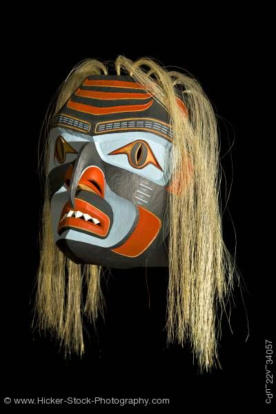 Stock photo of Shark Mask Stan C Hunt First Nations Artist Northern Vancouver Island British Columbia Canada