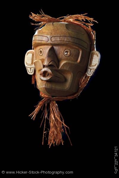 Stock photo of Wild Woman Native Mask Stan C Hunt First Nations Artist Vancouver Island British Columbia Canada