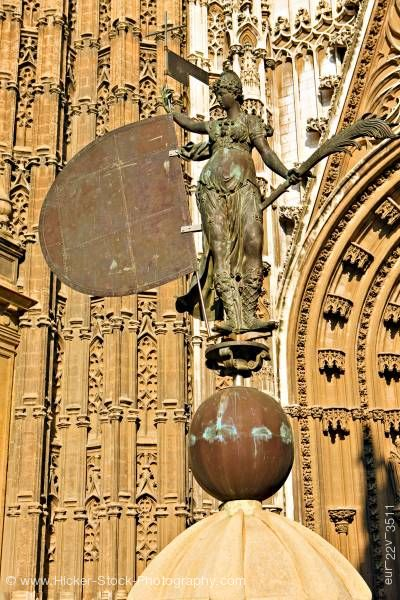 Stock photo of Statue of Faith Seville Cathedral Santa Cruz District City of Sevilla Province of Sevilla