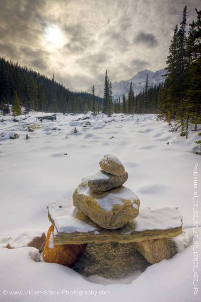 Stock photo of Stone Cairn Mistaya River Mount Sarbach Mistaya Canyon Banff National Park Alberta Canada
