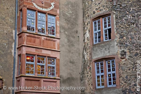 Stock photo of Decorated windows building stone wall Castle Ronneburg