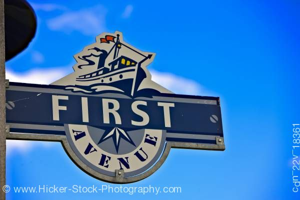Stock photo of Street sign town of Gimli shores of Lake Winnipeg Manitoba Canada