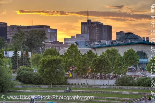 Stock photo of Sunset over Market and Marina The Forks National Historic Site City of Winnipeg Manitoba