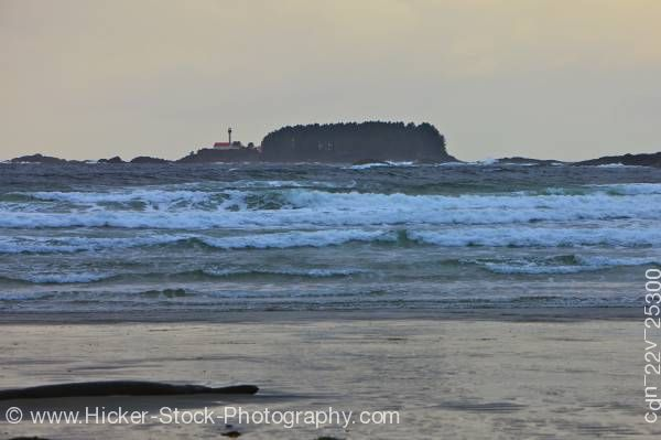 Stock photo of Cox Bay Beach Stormy Waves Pacific Ocean Lennard Island Lighthouse Vancouver Island