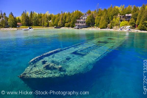Stock photo of Sweepstakes shipwreck Big Tub Harbour Fathom Five National Marine Park Lake Huron Ontario Canada