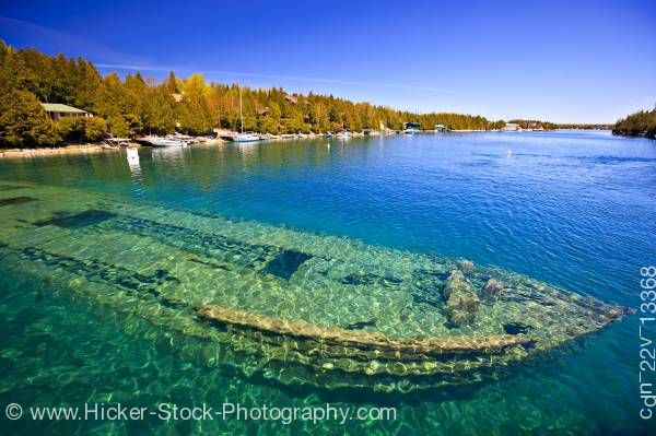 Stock photo of Sweepstakes shipwreck in Big Tub Harbour Fathom Five National Marine Park Lake Huron Ontario Canada