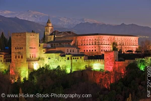 Stock photo of The Alhambra Mirador de San Nicolas Albayzin district City of Granada Province of Granada Andalusia