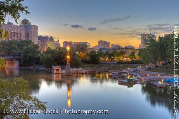Stock photo of Assiniboine River Marina and Market Tower The Forks National Historic Site City of Winnipeg Manitoba