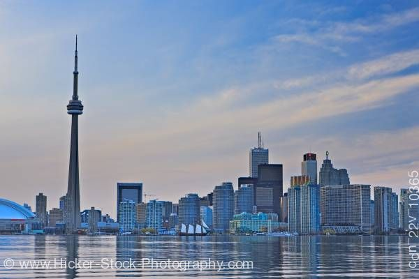 Stock photo of Toronto City Skyline Blue Sky at Dusk Centre Island Toronto Islands Lake Ontario Ontario Canada