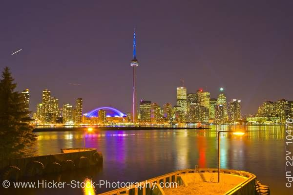 Stock photo of City Night Skyline Centre Island Toronto Islands lake Ontario Ontario Canada