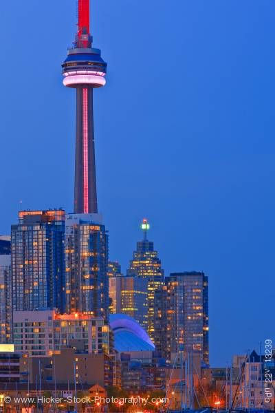 Stock photo of Skyline City of Toronto dusk Sky seen from Ontario Place Toronto Ontario Canada