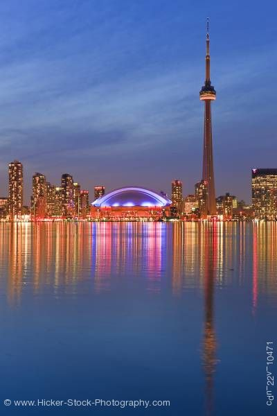 Stock photo of City Skyline Toronto Dusk Centre Island Toronto Islands Lake Ontario Ontario Canada