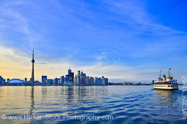 Stock photo of Skyline of Toronto Blue Sky CN Tower Toronto Islands Ferry City of Toronto Ontario