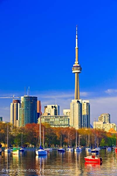 Stock photo of City of Toronto Skyline and Blue Sky as seen from Ontario Place Toronto Lake Ontario Canada
