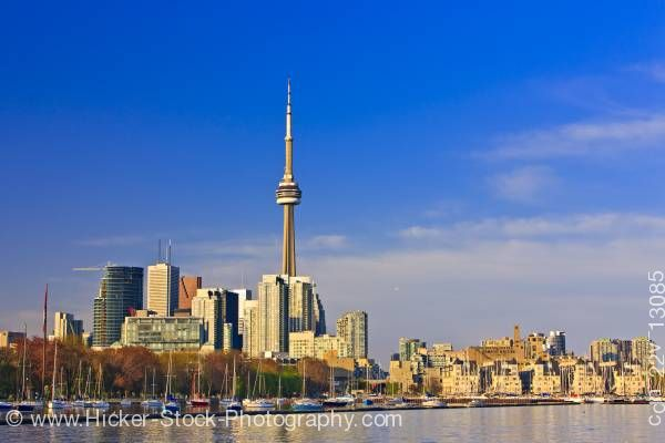 Stock photo of City of Toronto as seen from Ontario Place in Toronto Lake Ontario Ontario Canada Blue Sky