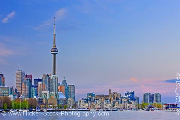 Stock photo of City of Toronto Skyline at Sunset as seen from Ontario Place Toronto Ontario Canada Blue Sky