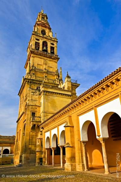 Stock photo of Torre del Alminar bell tower of Mezquita from Patio de los Naranjos City of Cordoba