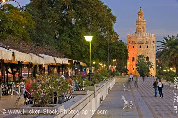 Stock photo of Torre del Oro El Arenal District City of Sevilla Andalusia Spain Europe