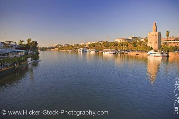 Stock photo of Torre del Oro City of Sevilla Andalusia Spain