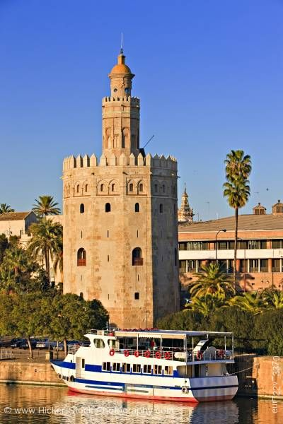 Stock photo of Torre del Oro El Arenal District City of Sevilla Province of Sevilla Andalusia Spain Europe