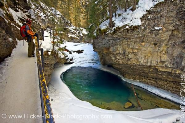 Stock photo of Johnston Creek Tourist Johnston Canyon Banff National Park Alberta Canada