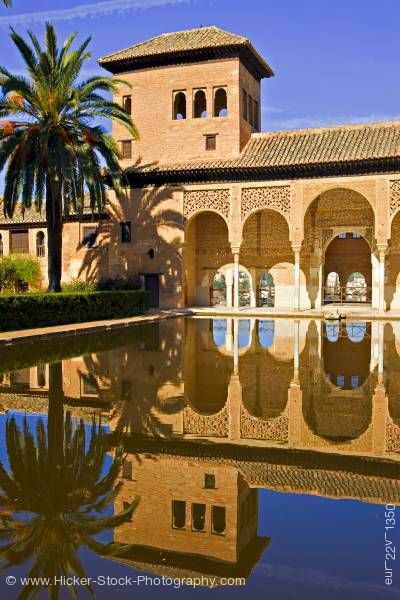 Stock photo of Pool Tower of Ladies Torres de las Damas partal The Alhambra Granada
