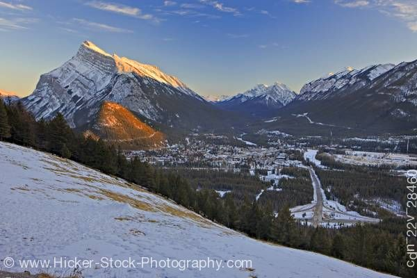 Stock photo of Town of Banff Mount Rundle Tunnel Mountain Canadian Rocky Mountains Banff National Park