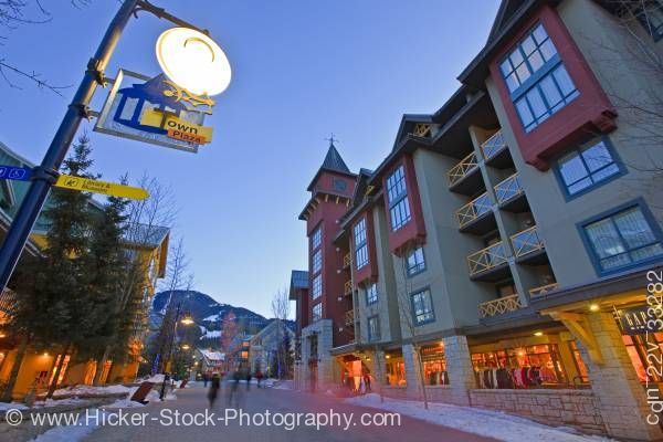 Stock photo of Town Plaza Along The Village Stroll At Dusk In Whistler Village British Columbia Canada