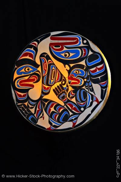 Stock photo of Native Art Drum Trevor Hunt First Nations Artist Northern Vancouver Island British Columbia Canada