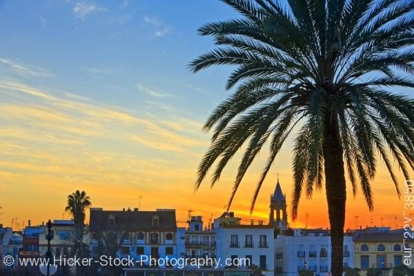 Stock photo of Triana District at sunset in the City of Sevilla Province of Sevilla Andalusia Spain Europe