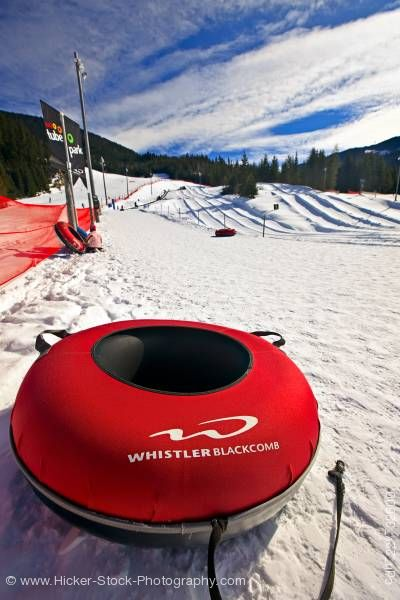 Stock photo of Inflated Tube Coca Cola Tube Park Blackcomb Mountain Whistler British Columbia Canada