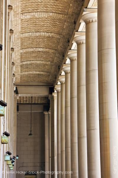 Stock photo of Historic Columns Architectural Detail Union Train Station Entrance Toronto Ontario Canada