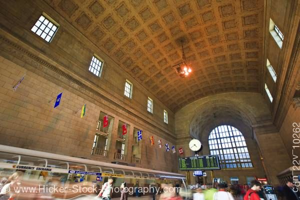 Stock photo of Architecture Ticket Lobby Great Hall Crowd Union Station Downtown Toronto Ontario Canada