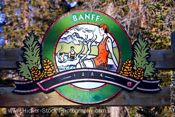 Stock photo of Entrance sign Upper Hot Springs Pool Banff National Park Canadian Rocky Mountains Alberta Canada