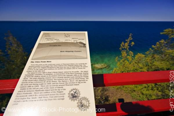 Stock photo of Interpretive sign at Light station view deck Flowerpot Island in Fathom Five National Marine Park