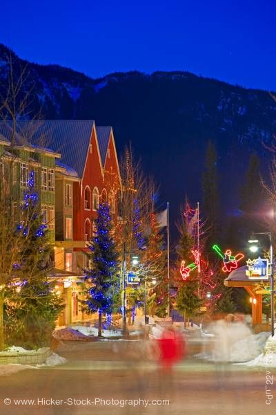 Stock photo of Village Stroll Dusk Winter Whistler Village British Columbia Canada