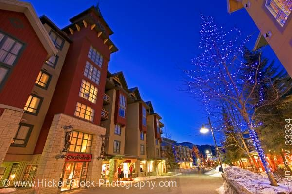 Stock photo of Village Stroll Dusk Whistler Village British Columbia Canada